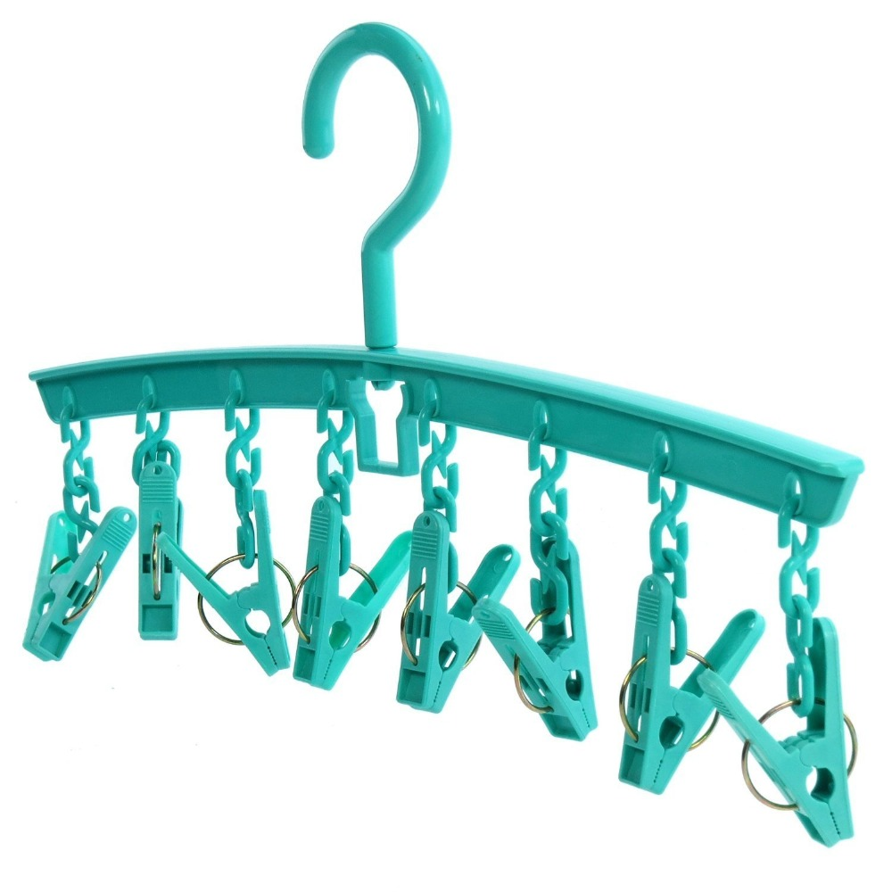 Inspring Plastic 8 Peg Sock/Underwear Clothes Hanger - Indoor Laundry Airer - Keeps Smaller Items Together