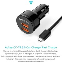 Newest Aukey Qualcomm Certified Quick Charge 3.0 Car Charger Dual USB Phone Charger