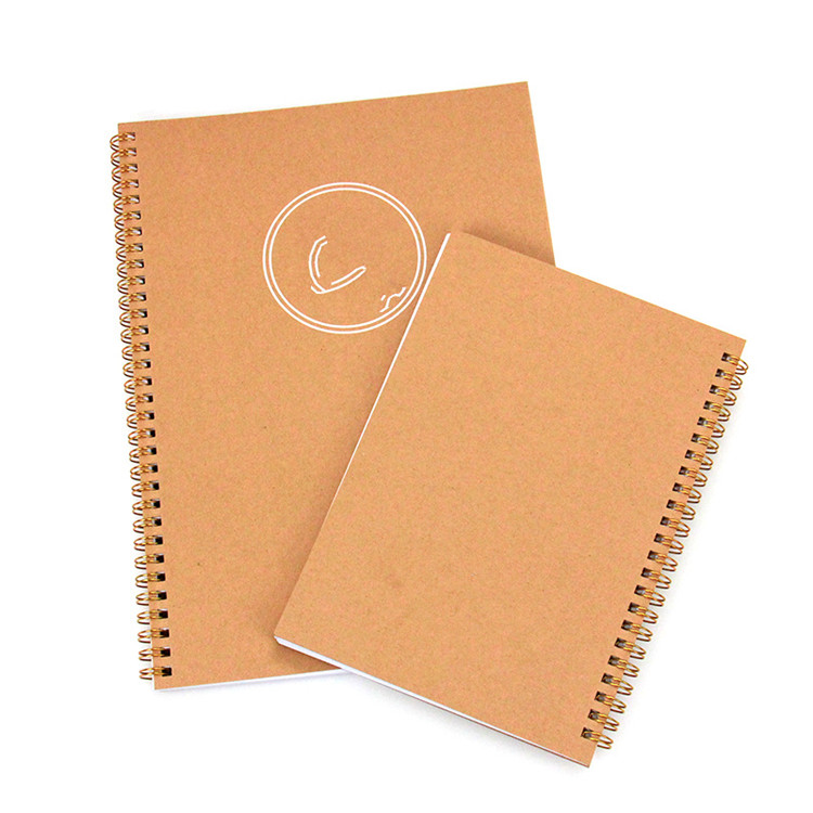 School Supplier A5 Kraft Paper Cover Gold Spiral Bound Notebook