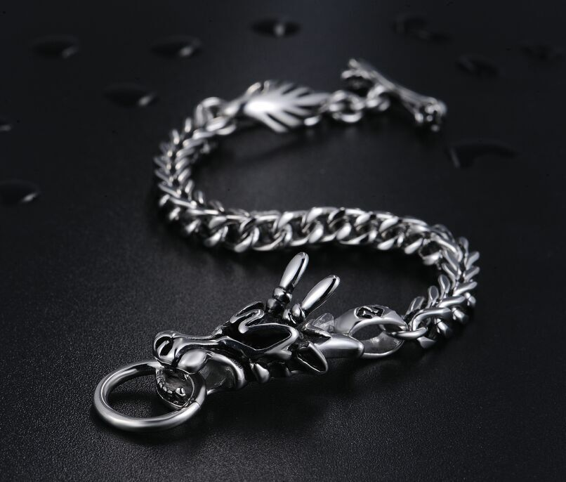 Biker Stainless Steel Foxtail Chain Vintage Dragon Bracelet for man