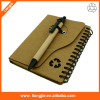Popular new design recycled notebook with pen with cheap price