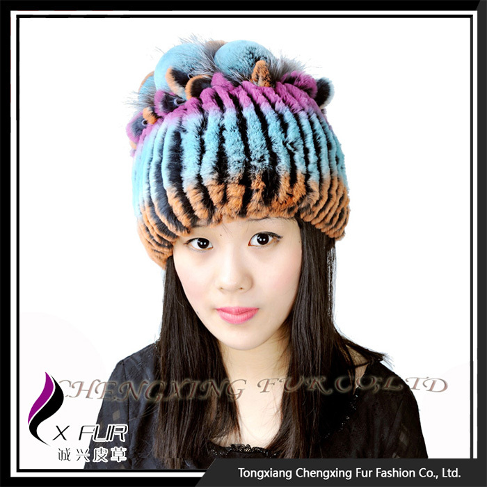 CX-<strong>C</strong>-<strong>109</strong> 2016 New Year Product Snow Ski Colorful Knitted Hats With Fur Pompom