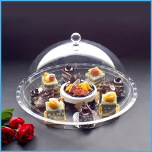 2015 new Design luxury transparent acrylic cake tray with cover