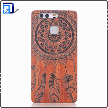 Hot Products to Sell Online Custom Laser Engraving Shockproof PC + Wood Phone Case for Huawei P9