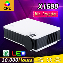 Mini Portable Projector 800x480 1000 Lumens Full HD 1080P Home Theater LED Video Projector CRE X1600