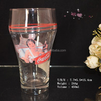 Promotional High Quality Decaled Coca Cola Glass Cup