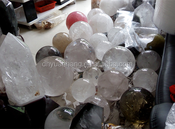High quality big size natural clear quartz crystal balls,large rock rose crystal fengshui sphere ball