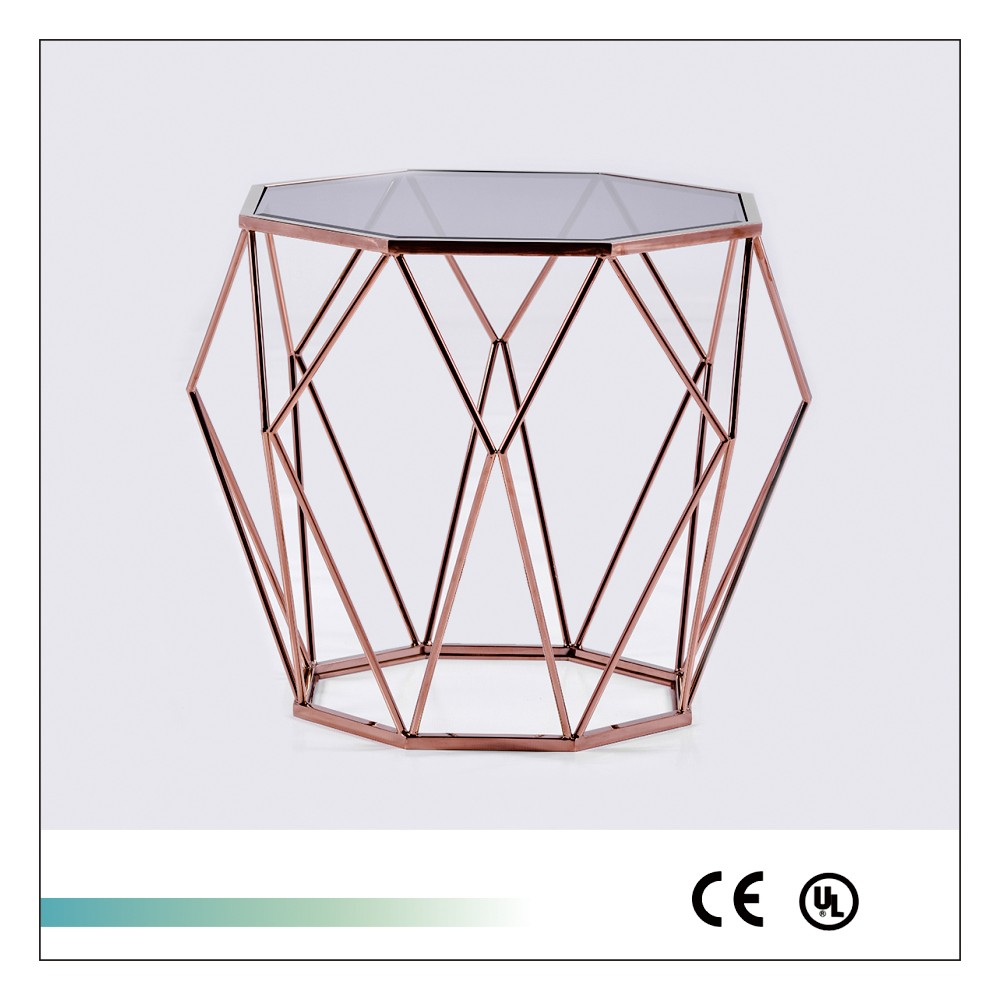 Goolee Unique Stainless Steel Side Table With Glass Top