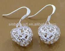 925 silver plating heart ornamental engraving eardrop earrings fashion jewelry PE013