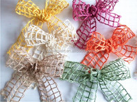 2.5 inches fine art window pane wired jute ribbon for holiday deco project