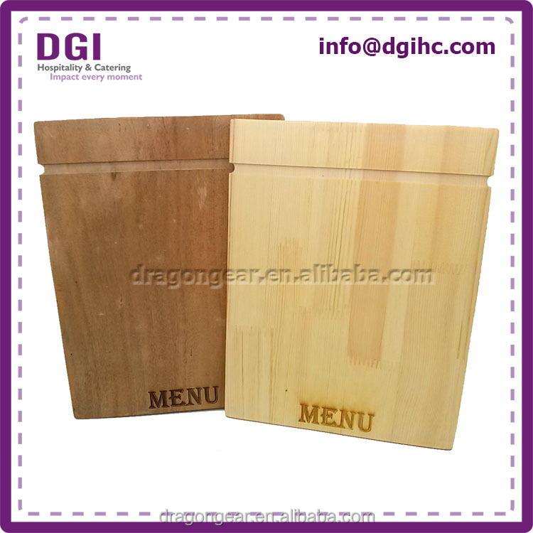 Custom natural restaurant air freshener wooden food menu cover