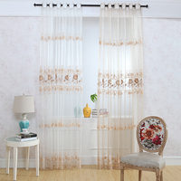 voile embroidery ready made curtain and drapes/flower embroidered curtain drapery voile sheer panel drapes