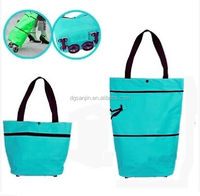 600D oxford zipper close foldable shopping trolley bag with wheel
