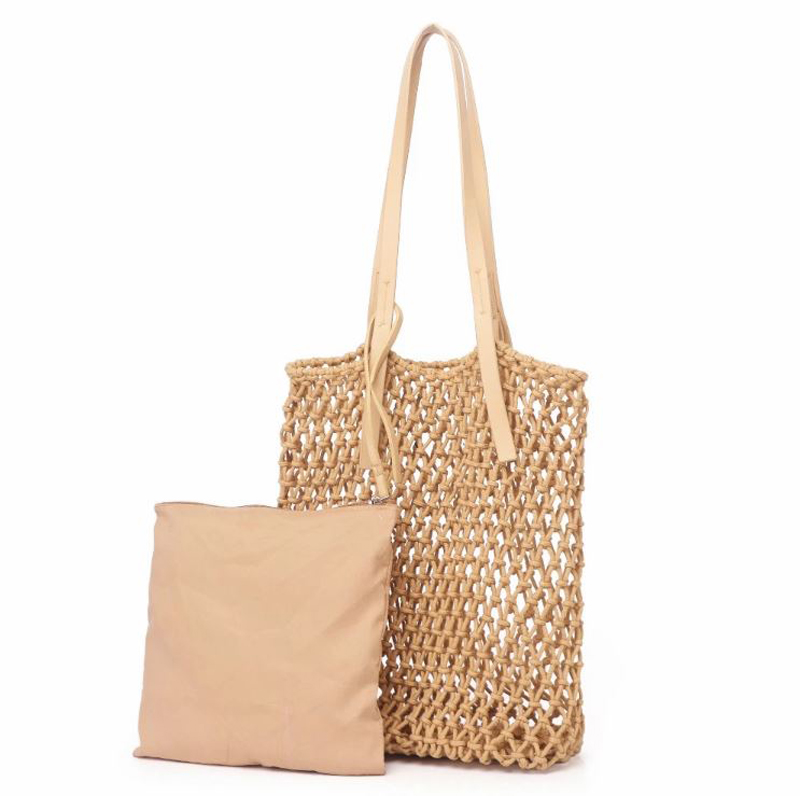 Latest fashion large cotton woven hollow out bags women handbags sets