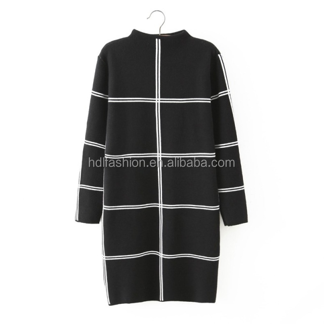 Brand design black and white two color grid pattern lady office dress