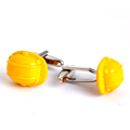 Novelty cufflinks yellow helmet pattern cufflinks