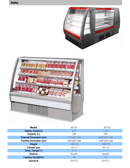 grab and go open air refrigerated display showcase