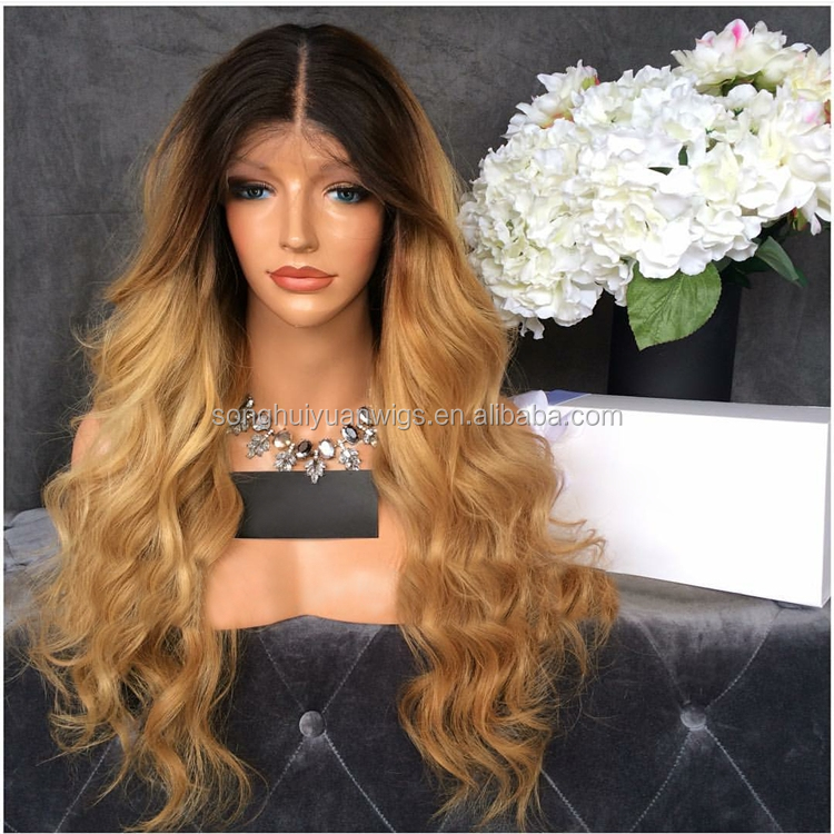 Ombre Wig Glueless Lace Front Human Hair Wigs With Highlight 1bT27