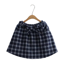 Japanese style fresh wind butterfly bow tie plaid woolen skirts skirts female wool skirt