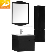 Hangzhou Cheap Single Sink Bathroom Wall Cabinet Modern Black Painting PVC Cabinet