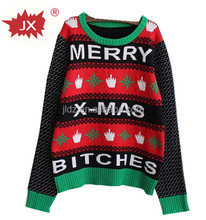 Amazon hot sell customized crew-neck christmas pullover sweater, round collar ugly christmas sweater ,knitted pattern, jacquard
