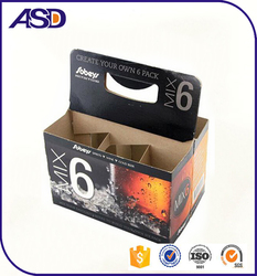 High quality cheap Cardboard 6 Pack/Bottle Beer Carrier paper Wine Box