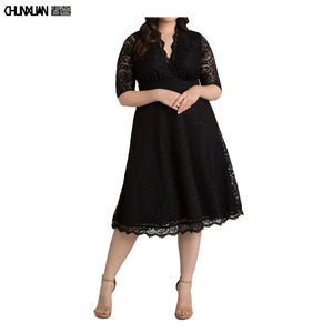 Fashionable women 3xl plus lace dress v neck large size dress for fat ladies party dress