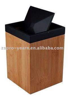 Wood Bamboo Dustbin Rubbish Bin Trash Can Waste Basket