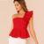 cotton fashion one shoulder blouse