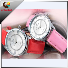 hot selling 4 colors leather strap ladies watches