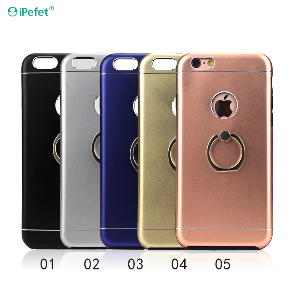 Aluminum Metal bumper TPU phone case with ring holder stand for iphone