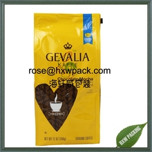 Four side seal matte kraft paper coffee packaging bag for ground coffee