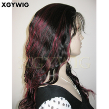 Wholesale Sexy long loose wavy 1B/Red highlighted 100% Human Hair glueless virgin Malaysian Lace Front Wig