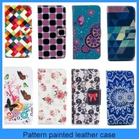 For Samsung Galaxy E5 leather case mobie phone case flower pattern wallet flip leather case for Samsung galaxy E5 (PT-SE5L221)