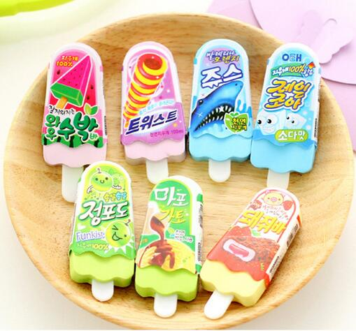diy creative stationery funny rubber,Cute ice-lolly ice cream shaped Eraser For Kid Toy,novelty cartoon Popsicle shaped eraser