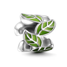 Fashion Trending Hot 925 Sterling Silver Green Vines Charm Fashion Leaf Charm Design