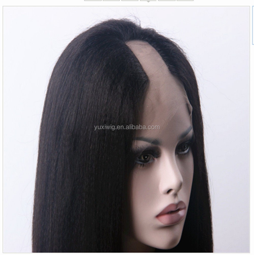 2016 New Arrival Afro Kinky straight Yaki straight U part Machine Made Wig For Black Lady
