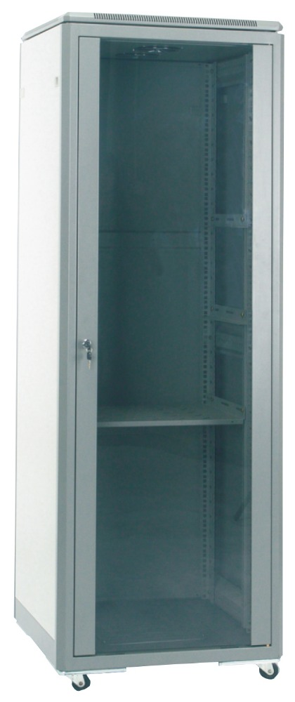 Glass door ,SPCC Econonical Network rack Cabinet+Quick installed side panels,rear door+bottom cable entry