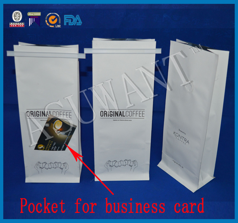 factory custom foil lined kraft paper coffee bags bag for coffee with valve and pocket for business card