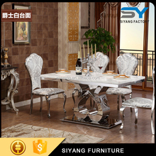Wedding Furniture crystal glass top center tables design dining table set CT006