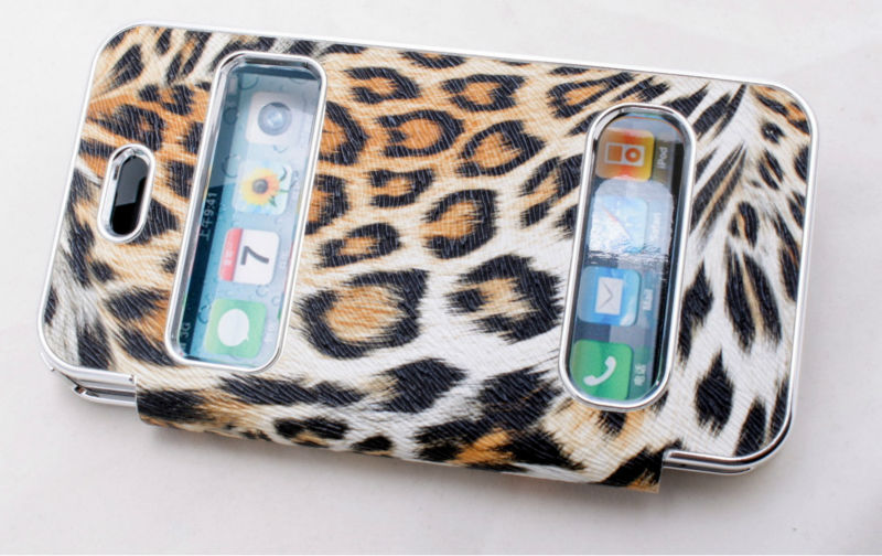 leather gold leopard wallet style flip case for i phone 4