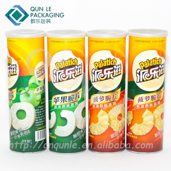 Custom Round Food Grade Cardboard Tube Potato Chip Can
