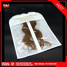 Direct Factory Plastic bags for hair extensions brazilian human hair sew in weave/pvc hair extension hanger bags with logo/pvc h