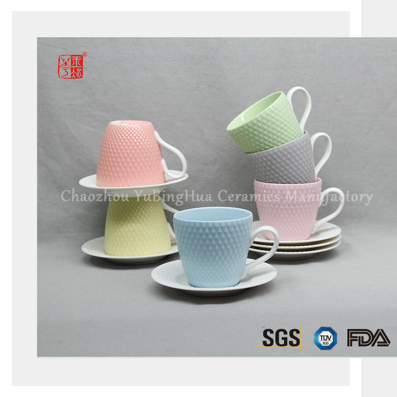Wholesale China custom ceramic tea cup and saucer set for 6 set in one