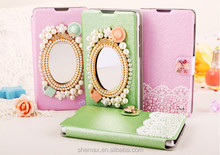 bling diamond flip wallet pu leather mirror cover case for sony xperia z2