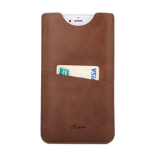 elekmall Slim Universal Leather Phone Case Bag Cover 4 5.5 6 inch for iPhone 5S 6S 7 plus Leather Phone Case Card holder