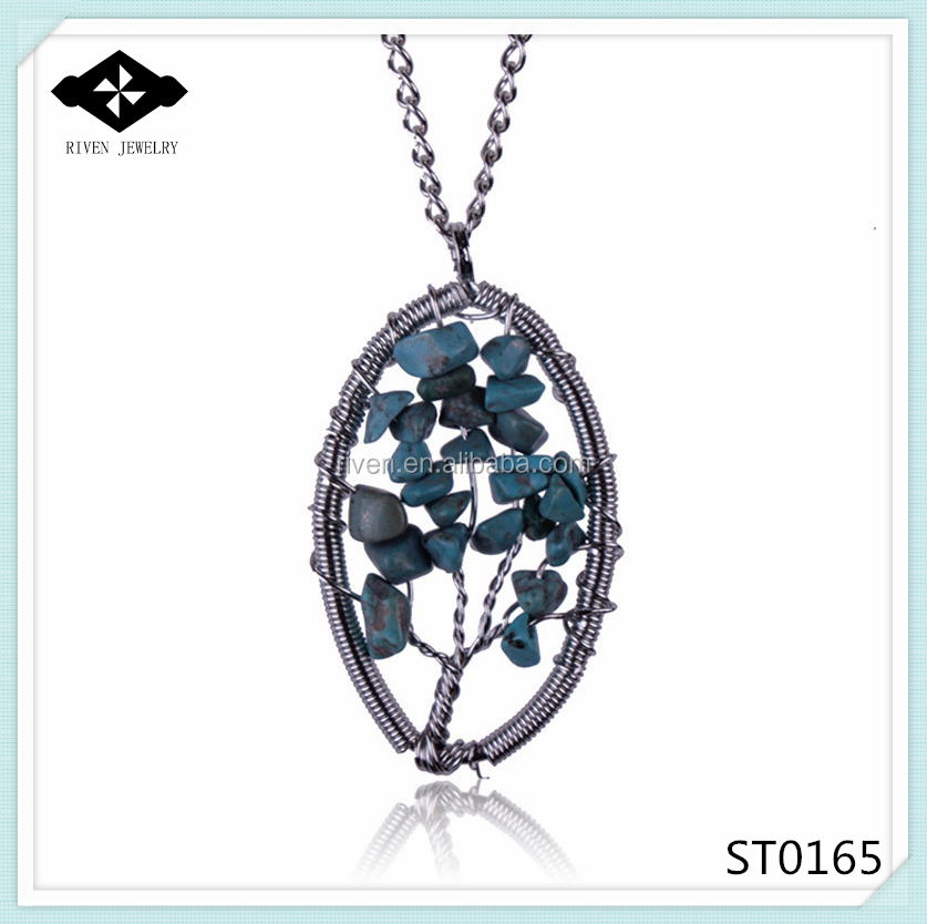 ST0165 2015 Newest Tree Of Life Natural gravel handmade oval turquoise pendant necklace.jpg