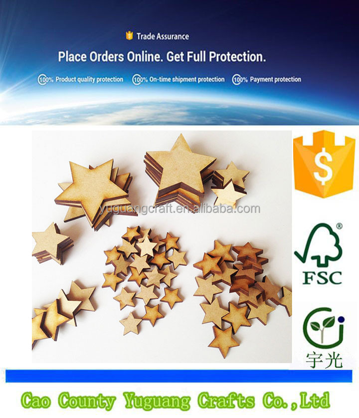 50 Pcs 1 Set Wooden MDF Star Shapes Craft Blank, Card Making, Christmas, Wedding