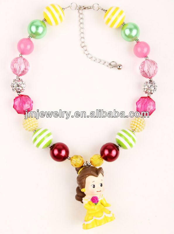 Chunky princess design for bubblegum necklace for birthday party