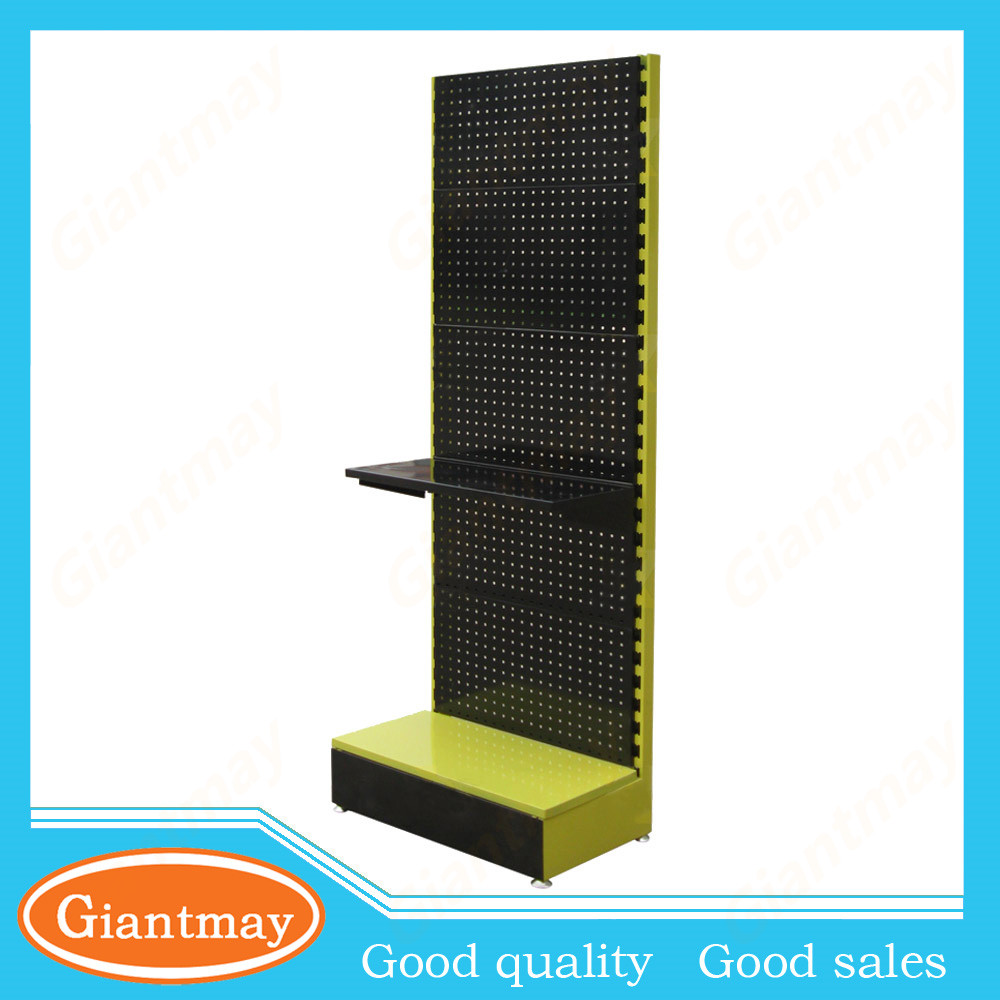 store perforated metal hook floor display stands for hair extension